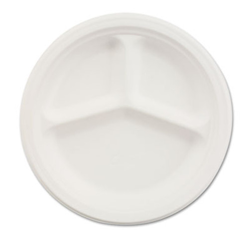 "Chinet Paper Dinnerware, 3-Comp Plate, 10 1/4"" dia, White, 500/Carton (HUH VESTRY)"
