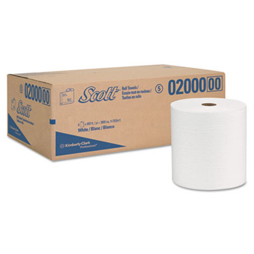 "Scott Hard Roll Towels, 8 x 950ft, 1 3/4"" Core, White, 6 Rolls/Carton (KCC 02000)"