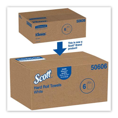 Scott Essential Plus Hard Roll Towels 8  x 600 ft  1 3 4  Core dia  White  6 Rolls CT (KCC 50606)