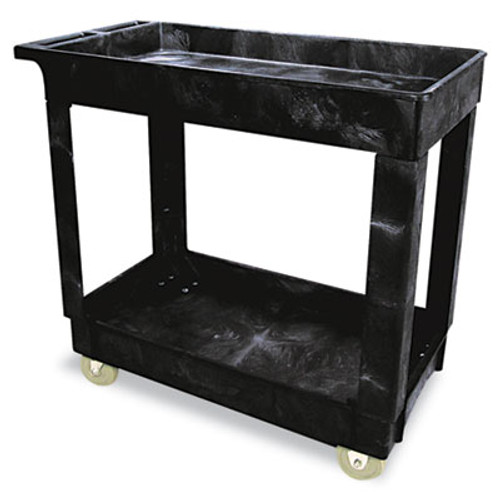Rubbermaid Commercial Service Utility Cart  Two-Shelf  34 13w x 17 38d x 32 38h  Black (RCP 9T66 BLA)