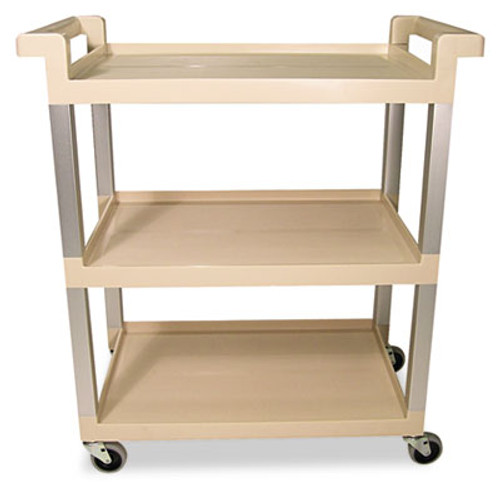 Rubbermaid Commercial Three-Shelf Service Cart w Brushed Aluminum Upright  16 25w x 31 5d x 36h  Beige (RCP 9T65-71 BEI)