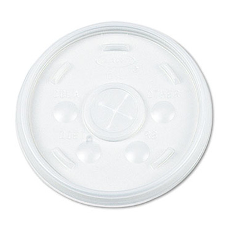 Dart Plastic Lids, Straw Slot, Fits 32oz Hot/Cold Foam Cups, White, 500/Carton (DCC 32SL)