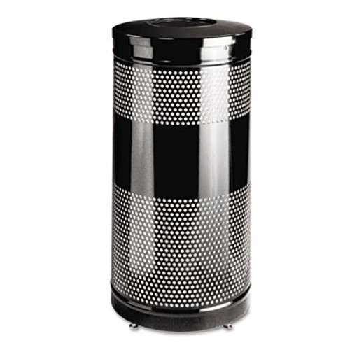 Rubbermaid Commercial Classics Perforated Open Top Receptacle  Round  Steel  28 gal  Black (RCP S3ETBKPL)