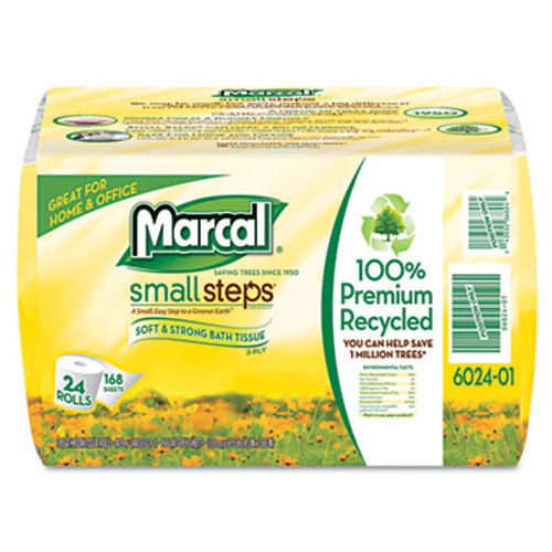 Marcal 100% Recycled Bundle Bathroom Tissue Roll, White, 168 Sheets, 24/Carton (MAC 6024)