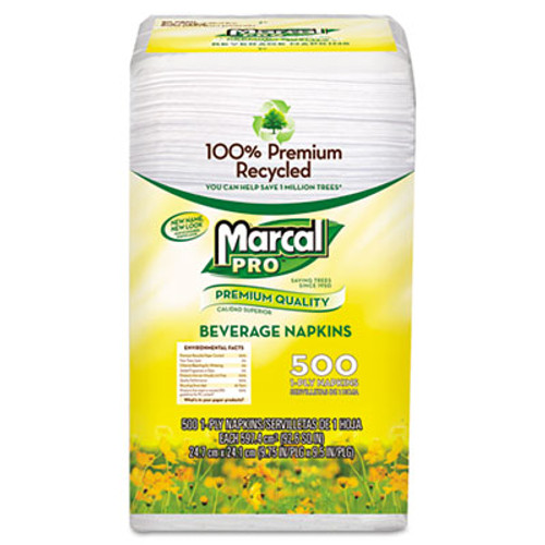 Marcal PRO 100% Recycled Beverage Napkins, 1-Ply, 9 3/4 x 9 1/2, White, 4000/Carton (MAC 0028)