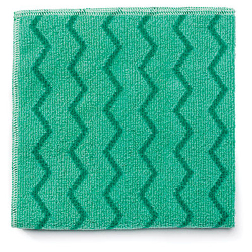 Rubbermaid Commercial Reusable Cleaning Cloths  Microfiber  16 x 16  Green  12 Carton (RCP Q620 GRE)