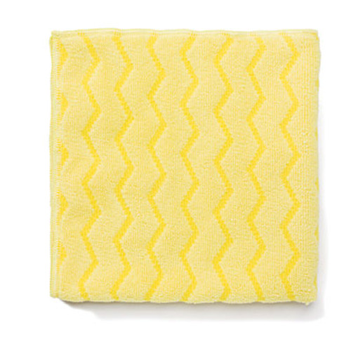 Rubbermaid Commercial Reusable Cleaning Cloths  Microfiber  16 x 16  Yellow  12 Carton (RCP Q610 YEL)