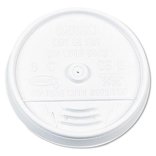 Dart Plastic Lids  for 16oz Hot Cold Foam Cups  Sip-Thru Lid  White  1000 Carton (DCC 16UL)