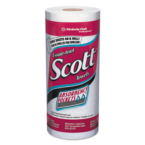 Scott Kitchen Roll Towels, 11 x 8 25/32, White, 128/Roll, 20 Rolls/Carton (KCC 41482)