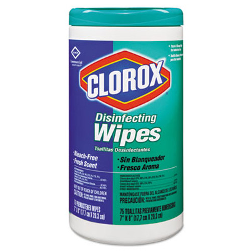 Clorox Disinfecting Wipes, 7 x 8, Fresh Scent, 75/Canister, 6/Carton (CLO 15949)