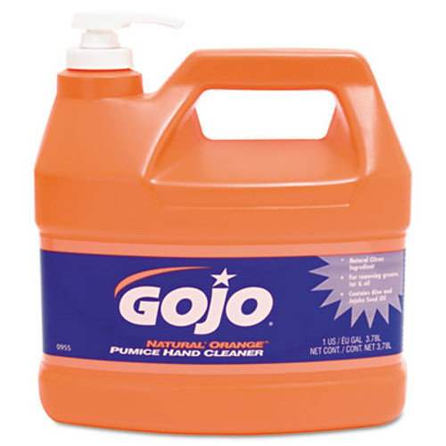 GOJO Natural Orange Pumice Hand Cleaner, Orange Citrus, 1gal Pump (GOJ 0955-04)