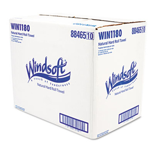 Windsoft Nonperforated Paper Towel Roll, 8 x 600ft, Brown, 12 Rolls/Carton (WIN 1180)