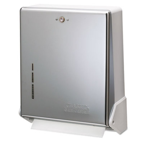 San Jamar True Fold C-Fold Multifold Paper Towel Dispenser  Chrome  11 5 8 x 5 x 14 1 2 (SAN T1905XC)