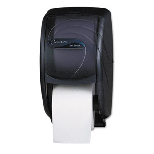 San Jamar Duett Standard Bath Tissue Dispenser  Oceans  7 1 2 x 7 x 12 3 4  Black Pearl (SAN R3590TBK)