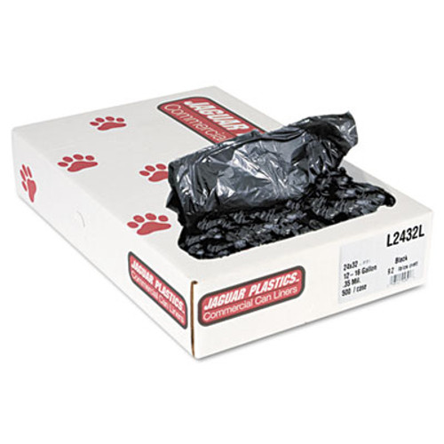 Jaguar Plastics Industrial Strength Low-Density Commercial Can Liners  16 gal  0 35 mil  24  x 32   Black  500 Carton (JAG L2432L)