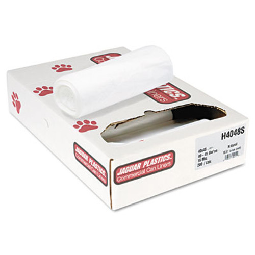 Jaguar Plastics Industrial Strength Commercial Can Liners Flat Pack  45 gal  16 microns  40  x 48   Natural  200 Carton (JAG H4048S)
