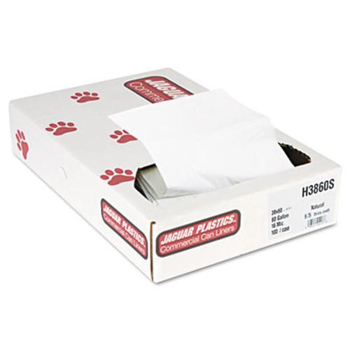 Jaguar Plastics Industrial Strength Commercial Can Liners Flat Pack  60 gal  16 microns  38  x 60   Natural  100 Carton (JAG H3860S)