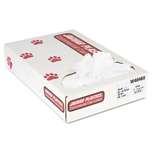 Jaguar Plastics Industrial Strength Low-Density Commercial Can Liners  45 gal  0 9 mil  40  x 46   White  100 Carton (JAG W4046X)