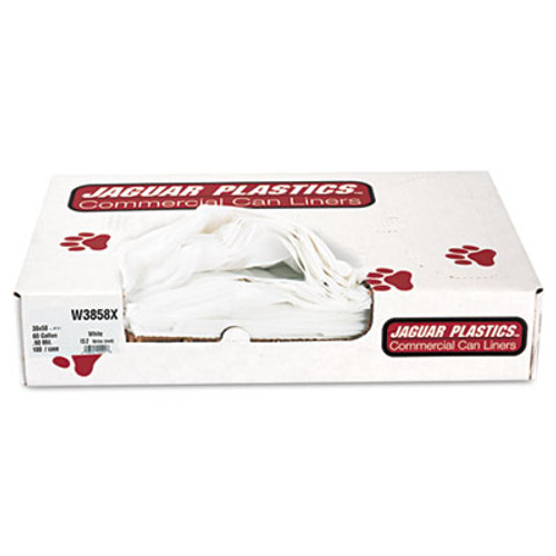 Jaguar Plastics Industrial Strength Low-Density Commercial Can Liners  60 gal  0 9 mil  38  x 58   White  100 Carton (JAG W3858X)