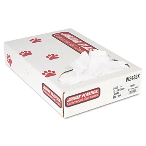 Jaguar Plastics Industrial Strength Low-Density Commercial Can Liners  16 gal  0 5 mil  24  x 32   White  500 Carton (JAG W2432X)