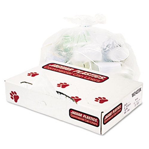 Jaguar Plastics Industrial Strength Low-Density Commercial Can Liners  10 gal  0 5 mil  24  x 23   White  500 Carton (JAG W2423X)