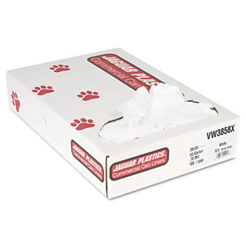 Jaguar Plastics Industrial Strength Commercial Can Liners, 60gal, .7mil, White, 100/Carton (JAG VW3858X)