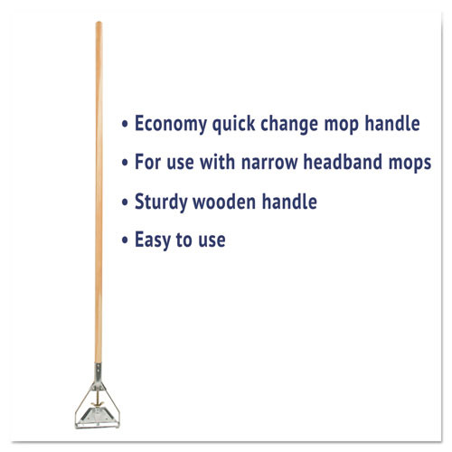 Boardwalk Quick Change Metal Head Mop Handle for No  20   Up Heads  54in Wood Handle (UNS 605)