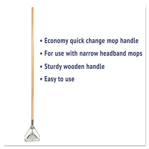 Boardwalk Quick Change Metal Head Mop Handle for No  20   Up Heads  54in Wood Handle (UNS 605)