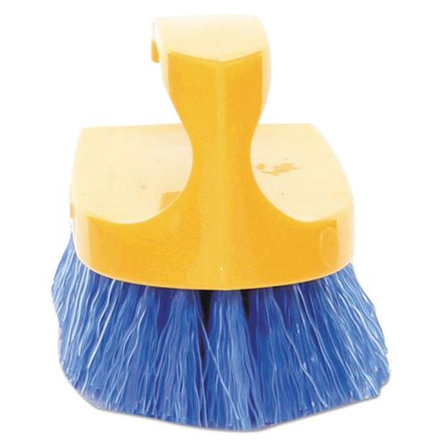 Rubbermaid Commercial Long Handle Scrub Brush  6  Brush  Yellow Plastic Handle Blue Bristles (RCP 6482 COB)
