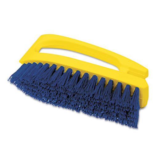 Rubbermaid Commercial Long Handle Scrub Brush  6  Brush  Yellow Plastic Handle Blue Bristles (RCP 6482 COB)