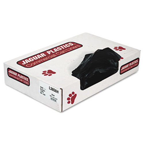 Jaguar Plastics Low-Density Can Liners, 60gal, .7mil, Black, 100/Carton (JAG L3858H)