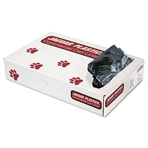Jaguar Plastics Low-Density Can Liners, 33gal, .6mil, Black, 200/Carton (JAG L3339H)