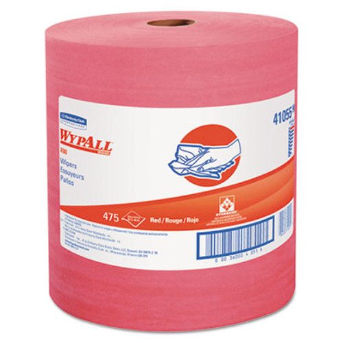 WypAll X80 Cloths  HYDROKNIT  Jumbo Roll  12 1 2 x 13 2 5  Red  475 Wipers Roll (KCC 41055)