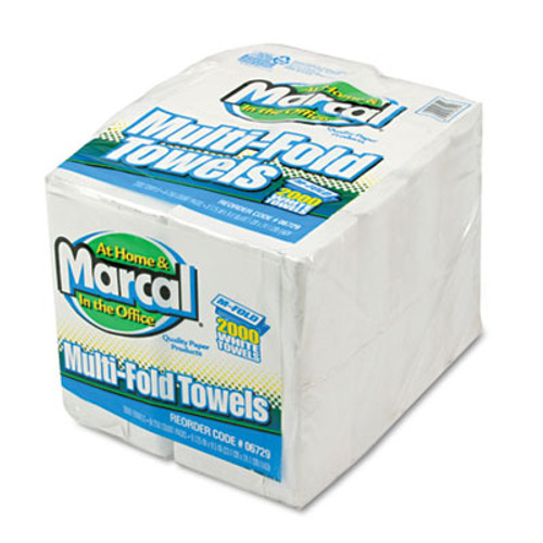 Marcal Small Steps 100  Premium Recycled Towels  1-Ply  Multi-fold  White  250 Sheets Pack  8 Packs Carton (MAC 6729)