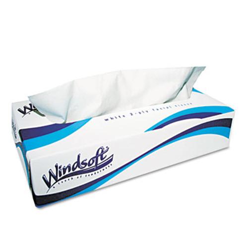 Windsoft Facial Tissue  2 Ply  White  Flat Pop-Up Box  100 Sheets Box  30 Boxes Carton (WIN 2360)