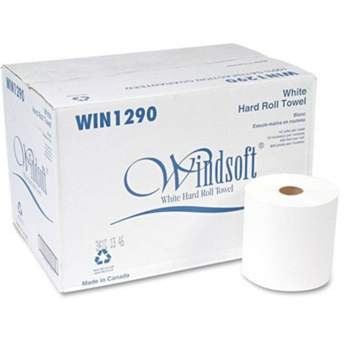 Windsoft Nonperforated Paper Towel Roll, 8 x 800ft, Bleached White, 12 Rolls/Carton (WIN 1290)