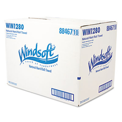 Windsoft Hardwound Roll Towels  8 x 800 ft  Natural  12 Rolls Carton (WIN 1280)