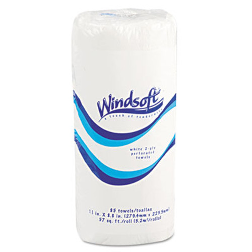 "Windsoft Perforated Paper Towel Rolls, 11"" x 8 4/5"", White, 85/Roll (WIN 1220-85)"