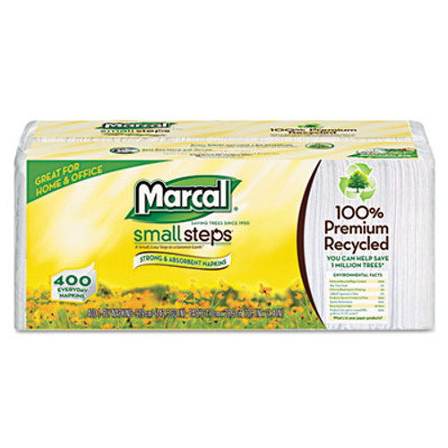 Marcal 100% Recycled Luncheon Napkins, 12 1/2 x 11 2/5, White, 2400/Carton (MAC 6506)