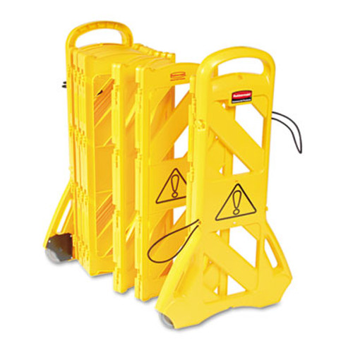 Rubbermaid Commercial Portable Mobile Safety Barrier  Plastic  13ft x 40   Yellow (RCP 9S11 YEL)