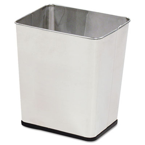 Rubbermaid Commercial Wastebasket, Rectangular, Steel, 7.25gal, Stainless Steel (RCP WB29RSS)
