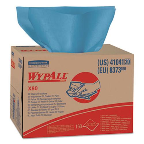 WypAll X80 Cloths  BRAG Box  HYDROKNIT  Blue  12 1 2 x 16 4 5  160 Wipers Carton (KCC 41041)