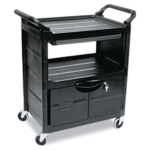 Rubbermaid Commercial Utility Cart With Locking Doors, Two-Shelf, 33-5/8w x 18-5/8d x 37-3/4h, Black (RCP 3457 BLA)