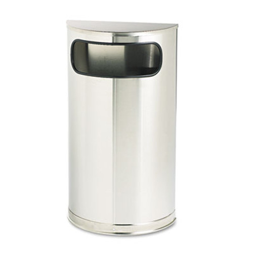 Rubbermaid Commercial European & Metallic Series Receptacle, Half-Round, 9gal, Satin Stainless (RCP SO8SSSPL)