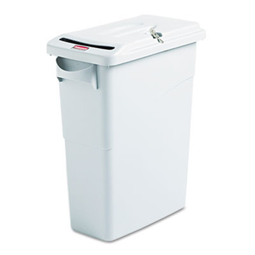 Rubbermaid Commercial Slim Jim Confidential Document Receptacle w/Lid, Rectangle, 15.875gal, Lt Gray (RCP 9W25 GRA)