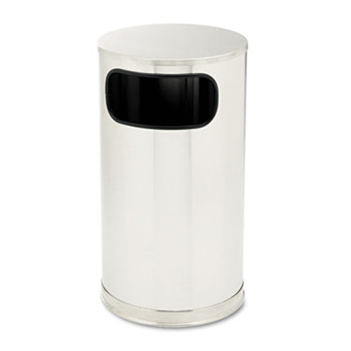 Rubbermaid Commercial European and Metallic Side-Opening Receptacle  Round  12 gal  Satin Stainless (RCP SO16SSSGL)