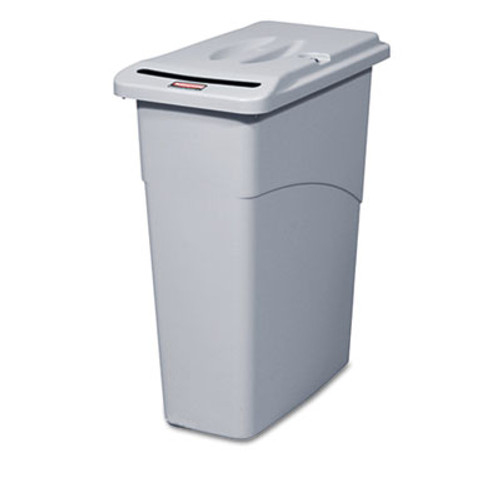 Rubbermaid Commercial Slim Jim Confidential Document Receptacle w/Lid, Rectangle, 23gal, Light Gray (RCP 9W15 GRA)
