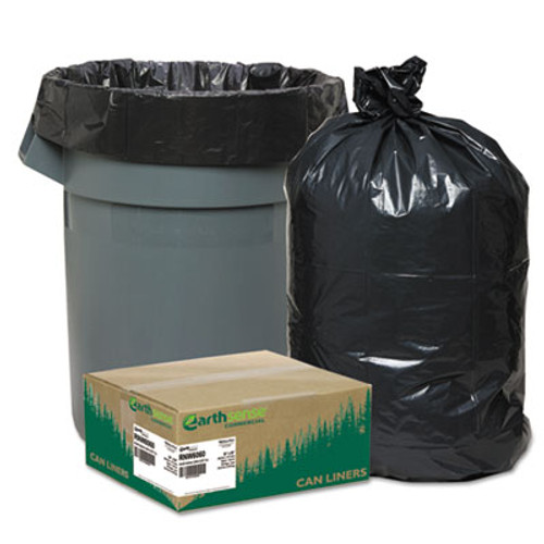 Earthsense Commercial Linear Low Density Recycled Can Liners  60 gal  1 65 mil  38  x 58   Black  100 Carton (WEB RNW6060)