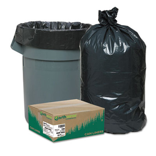 Earthsense Commercial Linear Low Density Recycled Can Liners  60 gal  2 mil  38  x 58   Black  100 Carton (WEB RNW5820)
