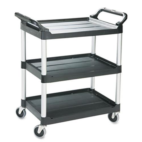 Rubbermaid Commercial Economy Plastic Cart  Three-Shelf  18 63w x 33 63d x 37 75h  Black (RCP 3424-88 BLA)